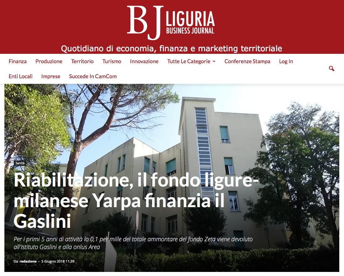 Riabilitazione, il fondo ligure-milanese Yarpa finanzia il Gaslini