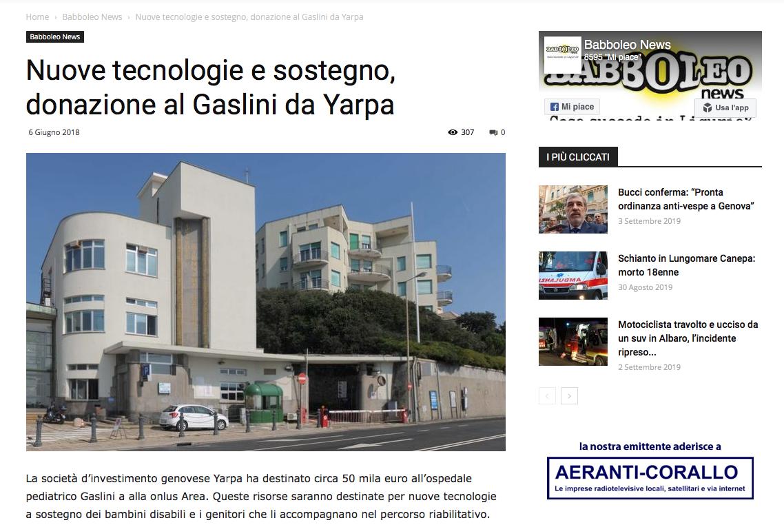 Nuove tecnologie e sostegno, donazione al Gaslini da Yarpa