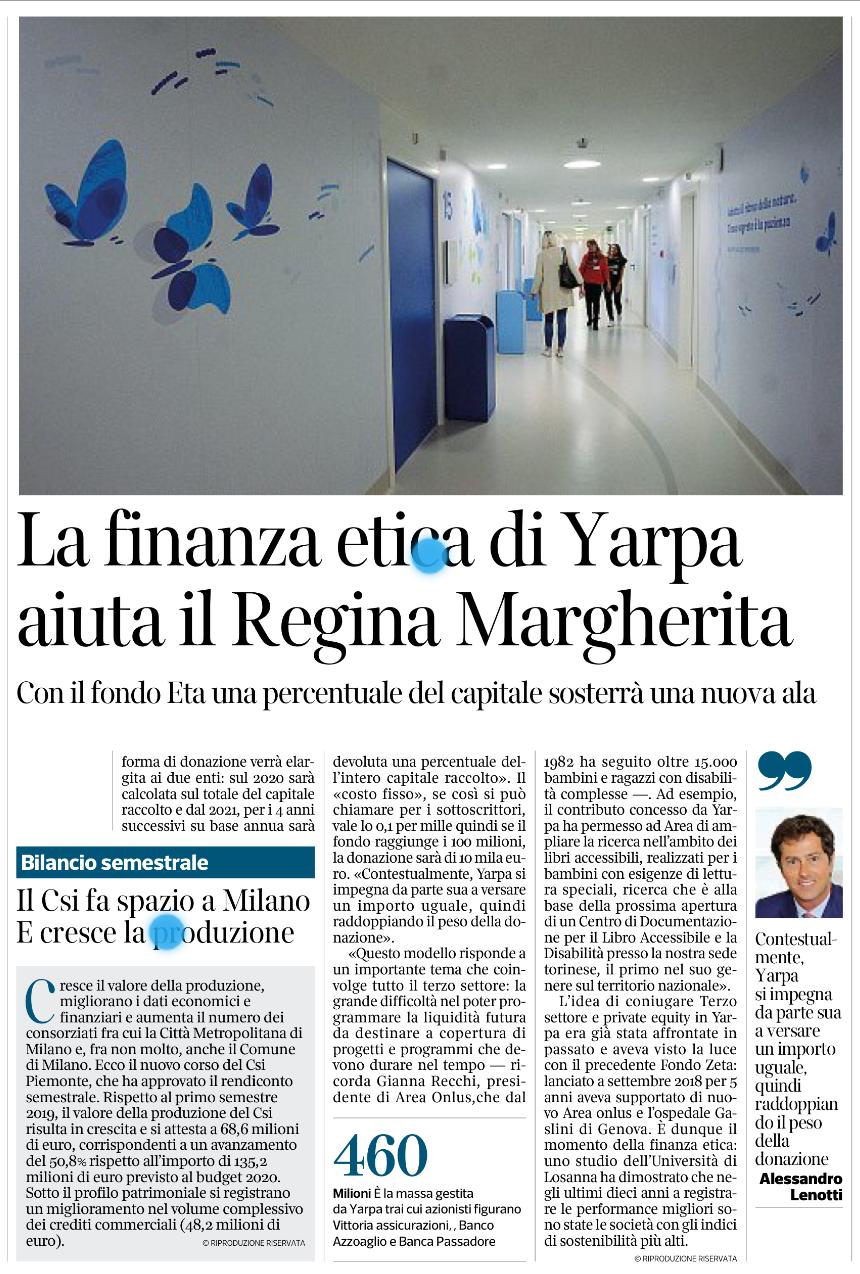 """La finanza etica di Yarpa aiuta il """"Regina Margherita"""""""